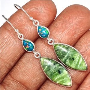 Tanzania and Imperial Fire Opal Silver earrings
